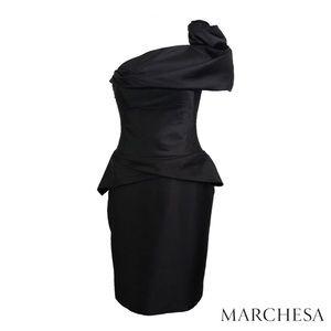 MARCHESA Black Silk One Shoulder Cocktail Dress